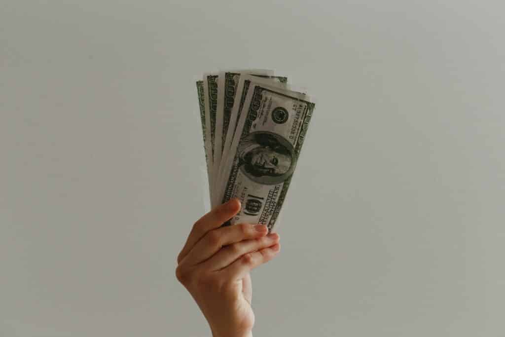 an image of a person holding money