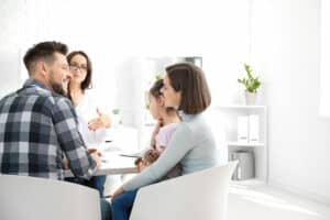 an image of people talking about family therapy during treatment