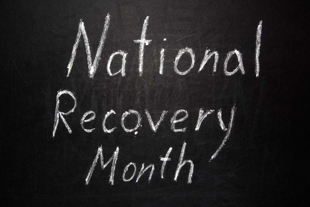 """an image that says """"national recovery month"""""""