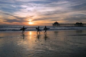 an image of people walking on the beach going to a huntington beach rehab